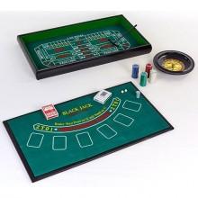 Мини-казино - 100 фишек, 2 колоды карт, 2 кубика, полотно (набор для игры в рулетку и покер - 3 в 1)