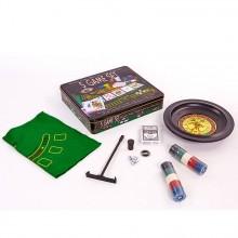 Мини-казино (набор для игры в рулетку и покер 5 в 1)  - 100 фишек с номиналом,1 колода карт,4 кубика, поле