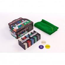 Набор для покера - 200 фишек с номиналом (в металлической коробке)