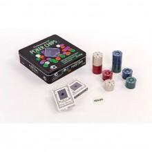 Набор для покера - 100 фишек с номиналом (в металлической коробке)