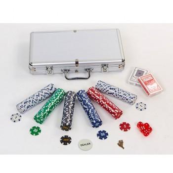 Набор для покера - 300 фишек с номиналом (в алюминиевом кейсе)