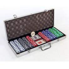 Набор для покера - на 500 фишек с номиналом (в алюминиевом кейсе)