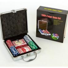 Набор для покера - на 100 фишек с номиналом (в алюминиевом кейсе)