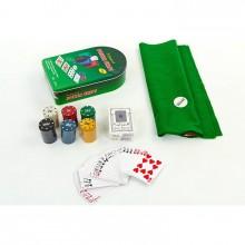 Набор для покера - 120 фишек с номиналом (в металлической коробке)