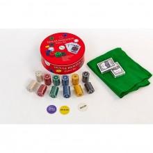 Набор для покера - 240 фишек с номиналом (в круглой металлической коробке)