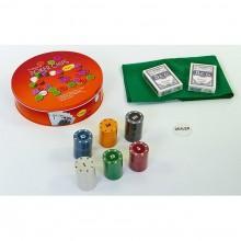 Набор для покера - 120 фишек с номиналом (в круглой металлической коробке)