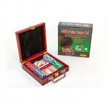 Набор для покера - на 100 фишек с номиналом (в деревянном кейсе)