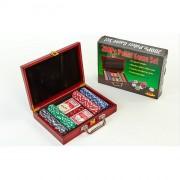 Набор для покера - на 200 фишек с номиналом (в деревянном кейсе)