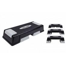 Степ-платформа ZEL FI-4733 (пластик, покрытие TPR, р-р 70Lx28Wx12H+5+5см, черный-серый) CDT01