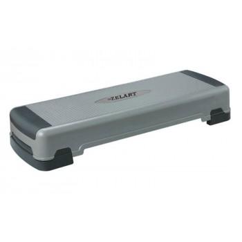 Степ-платформа ZEL FI-4735 (пластик, р-р 90Lx32Wx15H+5+5см, серый-черный) CDT024