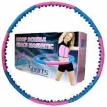 Обруч массажный Hula Hoop DOUBLE GRACE MAGNETIC (1,5кг, пластик, 8 секций, d-104см,с магнит)