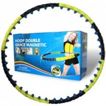 Обруч массажный Hula Hoop DOUBLE GRACE MAGNETIC (1,8кг,пластик,8 секций,d-110см,с магнитами)