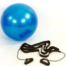 Мяч для фитнеса (фитбол) 65 см. глянцевый с эспандерами  PS (FI-0702B-65)