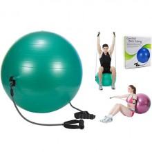 Мяч для фитнеса (фитбол) 65 см. глянцевый с эспандерами  PS (FI-075T-65)