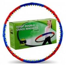Обруч массажный Hula Hoop DOUBLE GRACE MAGNETIC (1,5кг, пластик, 8 секций, d-98см, с магнит)
