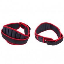 Пояс атлетический усиленный регулируемый XB9111 (р-р 80х18 см, от 110 до 116 см, черный-красный)