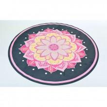 Коврик для йоги Yoga mat с сумкой 3 мм, замша, каучук, двухслойный FI-6218-1 (d 150 см, черный-розовый)
