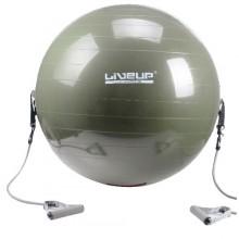Мяч для фитнеса 65 см. (фитбол с эспандером) LiveUp (серый)