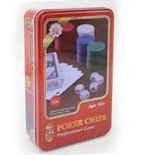 Покерный набор - 100 фишек без номинала (в металлической коробке)