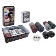 Фишки для покера - 100 фишек с номиналом (в металлической коробке)