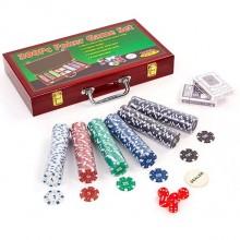 Набор для покера - на 300 фишек с номиналом (в деревянном кейсе)