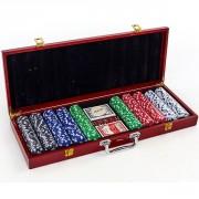 Набор для покера - на 500 фишек с номиналом (в деревянном кейсе)