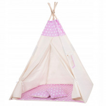 Детская палатка (вигвам) Springos Tipi XXL TIP09 White/Pink