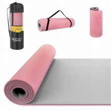 Коврик (мат) для йоги и фитнеса 4FIZJO TPE 1 см 4FJ0200 Pink/Grey