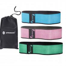 Резинка для фитнеса и спорта тканевая Springos Hip Band 3 шт FA0108